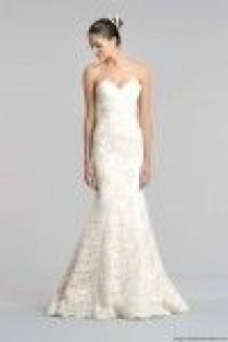 wedding photo - Carolina Herrera Fall 2015 Blush Lace Strapless Mermaid Bridal Dress