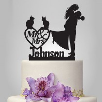 wedding photo - personalized Wedding Cake Topper birde and groom silhouette with two cats, mr and mrs wedding Cake Topper, couple, funny topper,