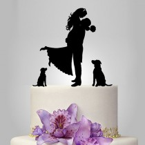 wedding photo - Wedding Cake Topper birde and groom silhouette with two dogs puttf, pets Cake Topper, couple, funny topper, kissing couple topper