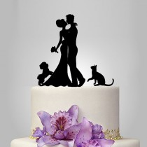wedding photo - Wedding Cake Topper birde and groom silhouette with Shih Tzu Dog and cat, pets Cake Topper, couple, funny topper, kissing couple topper