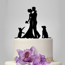 wedding photo - Wedding Cake Topper birde and groom silhouette with dog and cat, acrylic Wedding Cake Topper, couple, funny topper, kissing couple topper