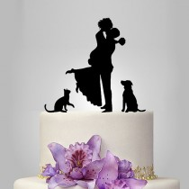 wedding photo - Bride and Groom silhouette wedding Cake Topper with dog and cat, acrylic Wedding Cake Topper, couple, funny topper, kissing couple topper