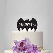 wedding photo - Mr and Mrs Wedding Cake topper with batman silhouette, disney cake topper, funny cake topper, unique topper,