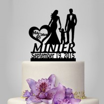 wedding photo - personalized Wedding Cake Topper Silhouette, Bride and Groom and little boy wedding cake topper with date wedding cake topper,