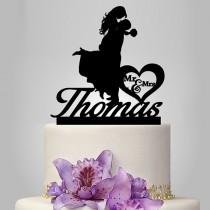 wedding photo - silhouette wedding cake topper, monogram cake topper, funny cake topper, bride and groom, mr and mrs in heart , personalize cake topper