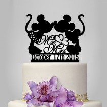 wedding photo - Mickey and Minnie mouse silhouette cake topper, mr and mrs wedding cake topper with heart decor, disney wedding cake topper with date