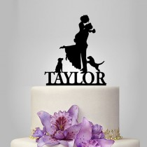 wedding photo - Bride and Groom silhouette wedding Cake Topper with 2 dog, acrylic Wedding Cake Topper, personalized wedding cake topper, funny topper