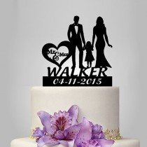 wedding photo - personalized Wedding Cake Topper, Bride and Groom with little girl silhouette cake topper, happy family funny and unique