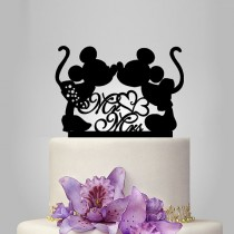 wedding photo - Mickey and Minnie mouse silhouette cake topper, mr and mrs wedding cake topper with heart decor, disney wedding cake topper