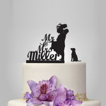 wedding photo - Funny wedding cake topper, monogram cake topper, Mr and Mrs cake topper, groom and bride silhouette cake topper, personalize last name