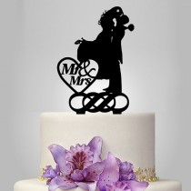 wedding photo - mr and mrs wedding cake topper, couple kissing silhouette wedding cake topper with double infinity symbol and heart decor funny cake topper