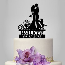 wedding photo - Funny wedding cake topper, Mr&Mrs cake topper, groom bride with dog cake topper, personalized name cake toppers