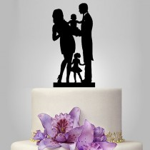 wedding photo - Funny wedding cake topper, family wedding cake topper, little kid cake topper, groom and bride with baby cake topper,SELECT KIDS