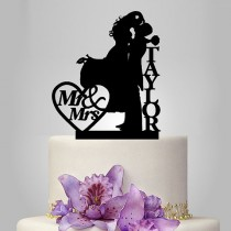wedding photo - personalized wedding cake topper, couple kissing silhouette wedding cake topper and heart decor funny custom name cake topper