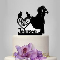 wedding photo - mr and mrs wedding cake topper, bride and groom silhouette wedding cake topper with cat and heart decor funny personalized name cake topper
