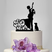 wedding photo - Funny wedding Cake Topper with dog, drunk bride and groom silhouette wedding Cake Topper with mr and mrs, unique cake topper , acrylic