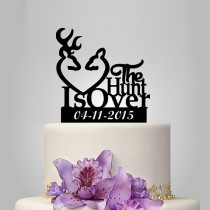 wedding photo - the hunt is over Wedding Cake Topper - Buck Doe and Custom Date Cake Decoration, funny ,unique topper