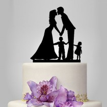 wedding photo - family Wedding Cake Topper, Bride and Groom with little girl and little boy silhouette, acrylic cake topper black color, funny and unique
