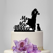 wedding photo - personalize wedding Cake Topper with dog, Bride and Groom wedding Cake Topper Silhouette, funny wedding cake topper, unique topper