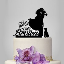 wedding photo - personalize wedding cake topper with dog, bride and groom silhouette wedding cake topper, Mr and Mrs cake topper, funny cake topper