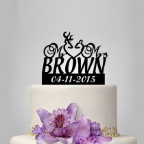 wedding photo - custom name Wedding Cake Topper - Buck Doe and Custom Date Cake Decoration, personalize acrylic cake toppers funny ,unique topper