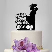 wedding photo - mr and mrs wedding cake topper Silhouette, bride and groom silhouette wedding cake topper, double infinity cake decor
