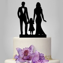wedding photo - family Wedding Cake Topper, Bride and Groom with little girl silhouette cake topper, acrylic cake topper black color, funny and unique