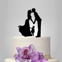 wedding photo - acrylic Wedding Cake Topper Silhouette, Bride and Groom and little girl topper, happy family wedding cake topper,