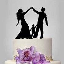 wedding photo - acrylic Wedding Cake Topper Silhouette, funny Wedding Cake Topper, Bride and Groom and little boy family wedding cake topper,