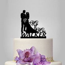 wedding photo - custom name wedding cake topper Silhouette, bride and groom silhouette wedding cake decor, Mr and Mrs cake topper, wedding gift idea