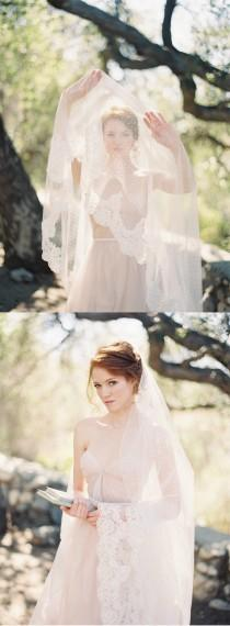 wedding photo - Circular Ivory Wedding Bridal Veil With Polka Dots And Beaded Lace, Dotted Blusher Veil - Allure