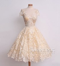 wedding photo -  Lace V Neck Short Prom Dress, Homecoming Dress from Sweetheart Girl