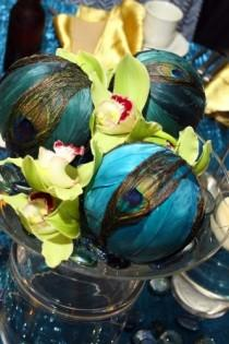 wedding photo - Peacock Feathers Centerpiece Wedding Reception Orchids