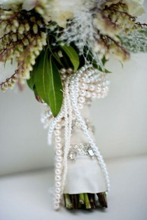 wedding photo - Wrap Your Bouquet With A Strand Of Pearls.