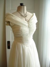 wedding photo - On Hold For Jillian Mid Century 1950 Rockabilly/Mad Men Style Soft Tulle Netting Full Skirt Wedding Dress