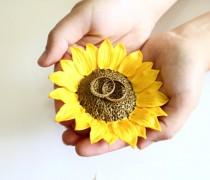 wedding photo - Yellow Sunflower ring Dish by Nikush Studio