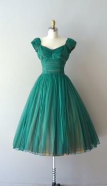 wedding photo - R E S E R V E D...1950s Dress / Vintage 50s Dress / Fool's Paradise Dress