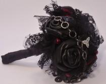 wedding photo - Black Leather Gothic Wedding Bouquet