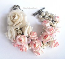 wedding photo - Pale Pink Roses Bridal Bracelet by Nikush  Jewelry Art Studio