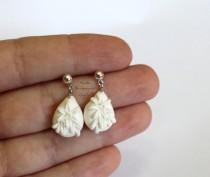 wedding photo - White 5 Pairs Handmade Bridesmaid Earrings  by Nicole  Bridesmaids Gift