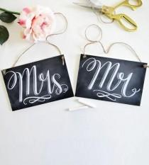 wedding photo - Mr. & Mrs. Wedding Chair Signs