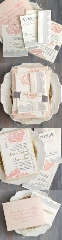 wedding photo - Lace Wedding Invitation Blush Peach Pink Wedding By BeaconLane