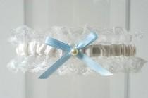 "wedding photo - Wedding Garter Ivory Lace Baby Blue Bow Something Blue Bridal Garter ""Annabelle"""