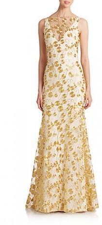 wedding photo - Theia Embroidered Crepe Gown