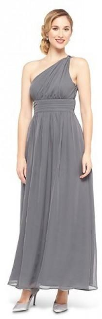 6cf812d006 Tevolio Women s Chiffon One Shoulder Maxi Bridesmaid Dress Quartz Gray 14