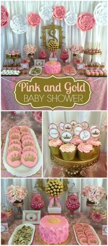 photo pink and gold baby shower baby shower royalty baby shower