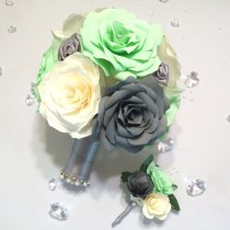 wedding photo -  Mint green, grey and ivory handmade paper Rose bouquet and matching boutonniere, Can be made in colors of your choice, Keepsake toss bouquet