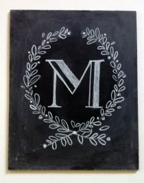 wedding photo - Custom Monogram Chalkboard - Monogrammed Gift - Monogram Wedding Gift - Monogram Sign