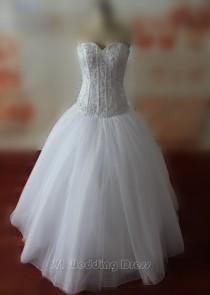 wedding photo -  Real Samples Corset Top Wedding Dresses with Pearls Sweetheart Wedding Gowns Floor Length Bridal Gowns Custom Made Bridal Dress