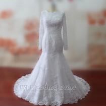 wedding photo -  Real Samples Mermaid Wedding Dresses Lace Wedding Gowns Long Sleeves Bridal Gowns Plus Size Bridal Dress